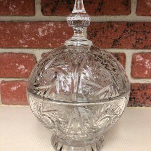 Round Star of David Etched Clear Glass Candy Dish